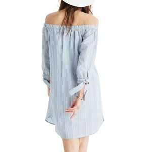 Madewell Dresses - MADEWELL | Stripe Off the Shoulder Shift Dress